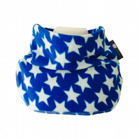 Handmade BLUE WONKY STARS Fleece NECK WARMER DUDE SNOOD Kids SCARF