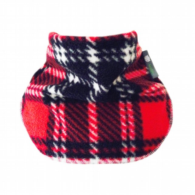 Handmade RED TARTAN Fleece UNISEX NECK WARMER DUDE SNOOD Kids SCARF