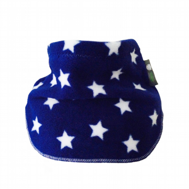 Handmade BLUE STARS Fleece UNISEX NECK WARMER DUDE SNOOD Kids SCARF 0-2 Years