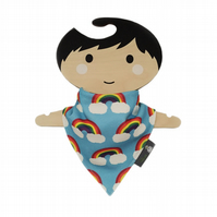 Bib, ORGANIC Baby Bandana Dribble Bib in RAINBOWS ON BLUE - A New Baby Gift Idea
