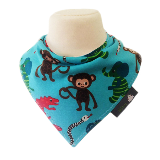 Handmade Baby Bandana Dribble Bib Scandinavian Swedish ZNOK Blue Animals fabric