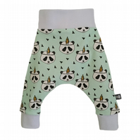 ORGANIC Baby HAREM PANTS Relaxed Trousers Mint Green FEATHER PANDAS Gift Idea