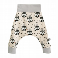 ORGANIC Baby HAREM PANTS Relaxed Trousers RACCOONS on Peach New Baby Gift Idea