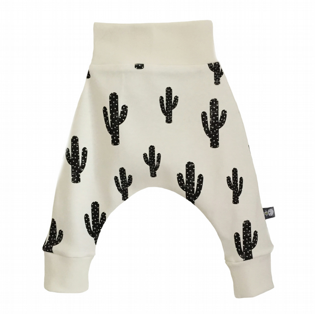 ORGANIC Baby HAREM PANTS Relaxed Trousers B&W CACTUS CACTI New Baby Gift Idea