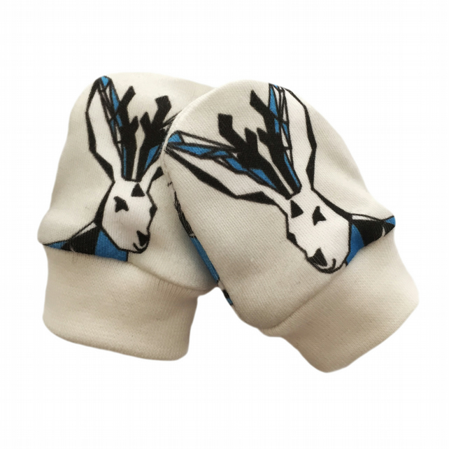ORGANIC Baby SCRATCH MITTENS in GEOMETRIC JACKALOPES  A New Baby Gift Idea