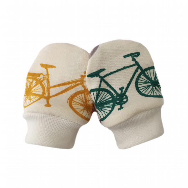 ORGANIC Baby SCRATCH MITTENS in DUTCH BICYCLES  A New Baby Gift Idea