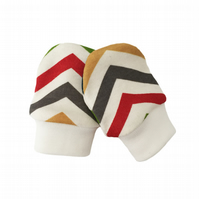 ORGANIC Baby SCRATCH MITTENS in MULTI SKINNY CHEVRONS  A New Baby Gift Idea