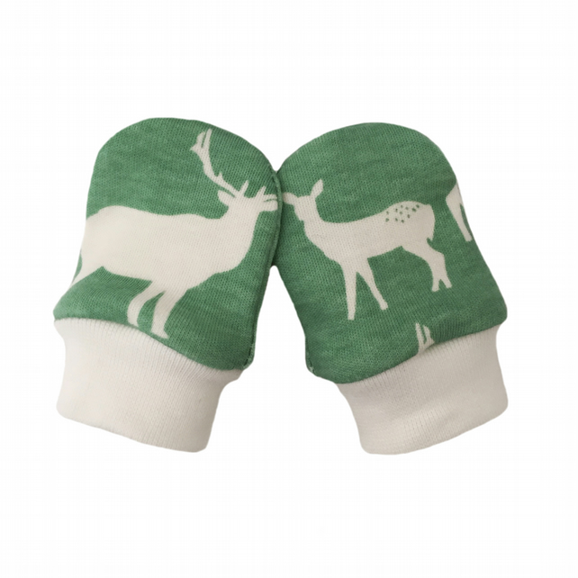 ORGANIC Baby SCRATCH MITTENS in POOL GREEN ELK FAMILY  A New Baby Gift Idea
