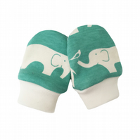 ORGANIC Baby SCRATCH MITTENS in POOL GREEN ELLIE ELEPHANTS  A New Baby Gift Idea