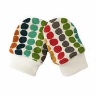 ORGANIC Baby SCRATCH MITTENS in MULTI PEBBLE STRIPE  A New Baby Gift Idea