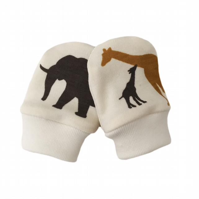 ORGANIC Baby SCRATCH MITTENS in SAFARI ANIMALS  A New Baby Gift Idea