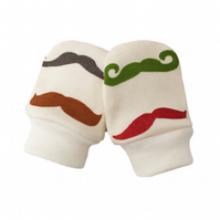 ORGANIC Baby SCRATCH MITTENS in MOUSTACHES STACHES  A New Baby Gift Idea