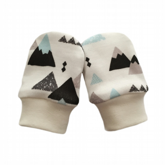 ORGANIC Baby SCRATCH MITTENS in BLUE & GREY MOUNTAINS  A New Baby Gift 0-3m