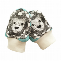 ORGANIC Baby SCRATCH MITTENS in TURQUOISE LION HEADS  A New Baby Gift Idea