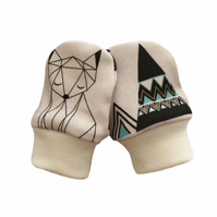 ORGANIC Baby SCRATCH MITTENS in GEOMETRIC FOXES & PYRAMIDS  A New Baby Gift Idea
