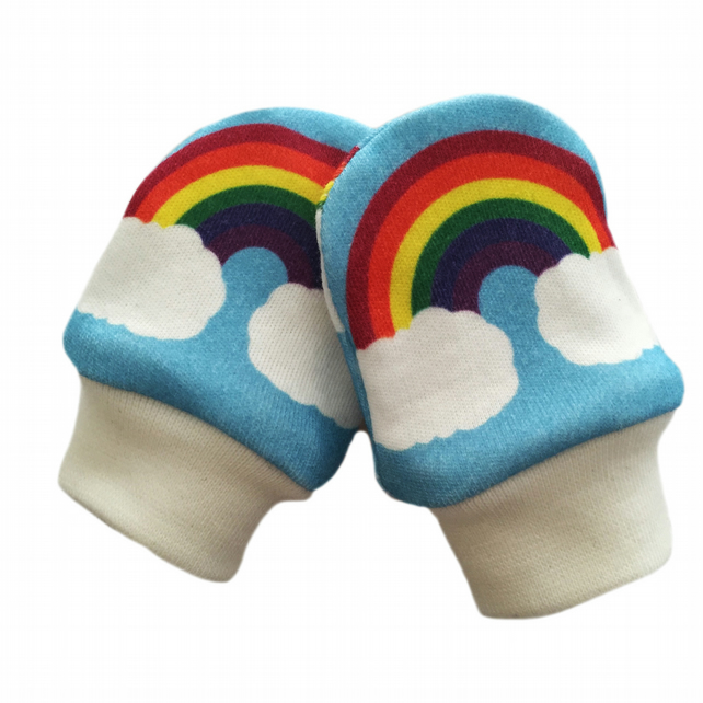 ORGANIC Baby SCRATCH MITTENS in RAINBOWS ON BLUE  A New Baby Gift Idea