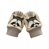 ORGANIC Baby SCRATCH MITTENS in FEATHER RACCOONS  A New Baby Gift Idea