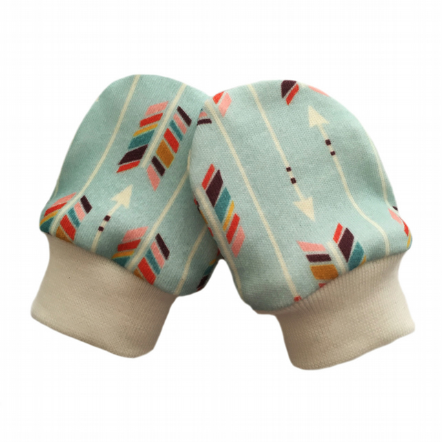 ORGANIC Baby SCRATCH MITTENS in MULTI ARROWS ON MINT  A New Baby Gift Idea