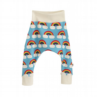 ORGANIC Baby HAREM PANTS Relaxed RAINBOWS ON BLUE Trousers - A BABY GIFT IDEA
