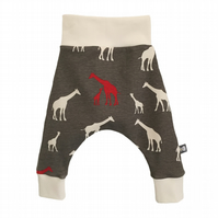 ORGANIC Baby HAREM PANTS Relaxed Trousers GIRAFFES A Gift Idea by BellaOski