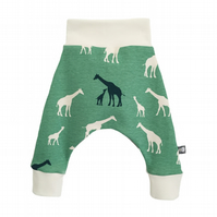 ORGANIC Baby HAREM PANTS Relaxed Trousers Green GIRAFFES Gift Idea by BellaOski