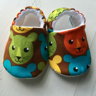 BELLAOSKI Handmade Brown Multi LIONS Slippers Pram Shoes Baby GIFT Size 3-6m