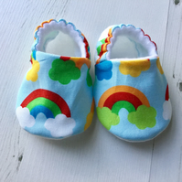 BELLAOSKI Handmade Primary RAINBOWS Slippers Pram Shoes Baby GIFT Size 3-6m