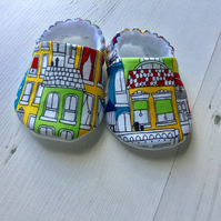 BELLAOSKI Handmade CITYSCAPE HOUSES Slippers Pram Shoes Baby GIFT Size 3-6m