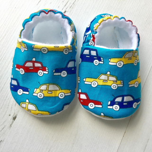 BELLAOSKI Handmade Multi CARS on blue Slippers Pram Shoes Baby GIFT Size 3-6m