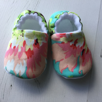 BELLAOSKI Handmade Jade Green FLOWERS Slipper Pram Shoes GIFT IDEA Size 0-3m