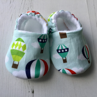BELLAOSKI Handmade Blue HOT AIR BALLOONS Slippers Pram Shoes Baby GIFT Size 3-6m