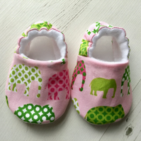 BELLAOSKI Handmade Pink ELEPHANTS Slippers Pram Shoes Baby GIFT IDEA Size 3-6m