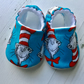 BELLAOSKI Handmade Blue CAT IN THE HAT Slippers Pram Shoes Baby GIFT Size 3-6m
