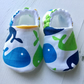 BELLAOSKI Handmade Multi WHALES Slippers Pram Shoes Baby GIFT Size 3-6m