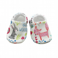 Baby Shoes First Walkers WOODLAND ANIMALS Slippers Pram Shoes Gift Idea 0-24M