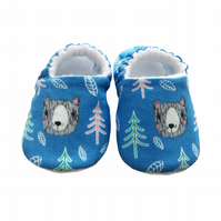 Baby Shoes First Walkers BLUE BEARS Slippers Pram Shoes Gift Idea 0-24M