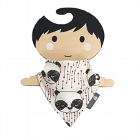 ORGANIC Baby Bandana Dribble Bib in PANDA HEADS Xmas Gift Idea from BellaOski