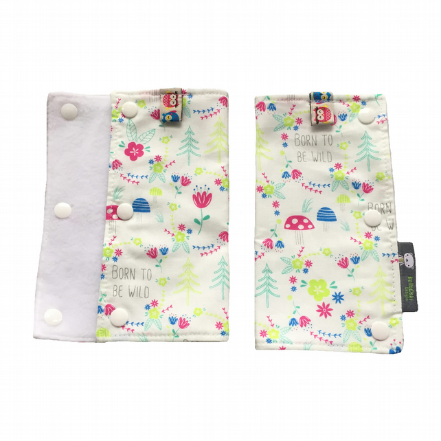TEETHING PADS Strap Covers for ERGO Baby Carrier in Born to be Wild Fabric