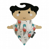 ORGANIC Baby Bandana Dribble Bib in ICE CREAMS Xmas Gift Idea from BellaOski