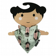 ORGANIC Baby Bandana Dribble Bib in Pink Mint FEATHERS Gift Idea from BellaOski