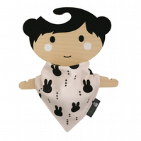 ORGANIC Baby Bandana Dribble Bib in BUNNY HEADS Xmas Gift Idea from BellaOski