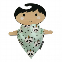 ORGANIC Baby Bandana Dribble Bib in MINT PANDAS Gift Idea from BellaOski