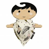ORGANIC Baby Bandana Dribble Bib in Cream FEATHERS Gift Idea from BellaOski