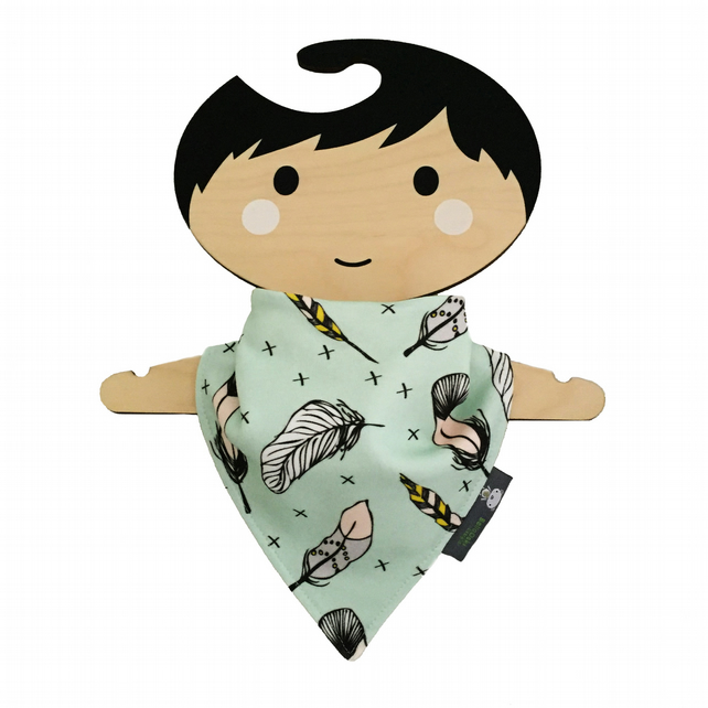 ORGANIC Baby Bandana Dribble Bib in mint green FEATHERS Gift Idea from BellaOski