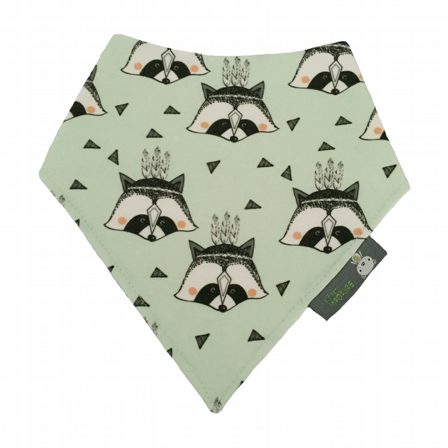 ORGANIC Baby Bandana Dribble Bib in mint green RACCOONS Gift Idea from BellaOski