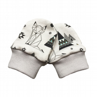 ORGANIC Baby SCRATCH MITTENS in GEOMETRIC FOXES & PYRAMIDS  A New Baby Gift