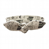 Baby Knotted Headband in ORGANIC GEOMETRIC FOXES & PYRAMIDS - Baby Gift Idea