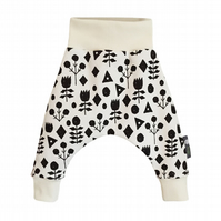 ORGANIC Baby HAREM PANTS Relaxed GEOMETRIC FLOWERS Trousers - A GIFT IDEA