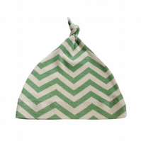 ORGANIC Baby Knotted Hat in BIRCH'S CHEVRONS POOL - Eco GIFT IDEA from BellaOski