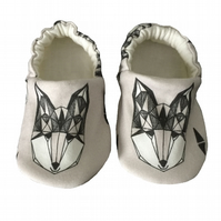 Baby Shoes 1st Walkers Grey Foxes Organic Kids Slipper Pram Shoes Gift Idea 0-9Y
